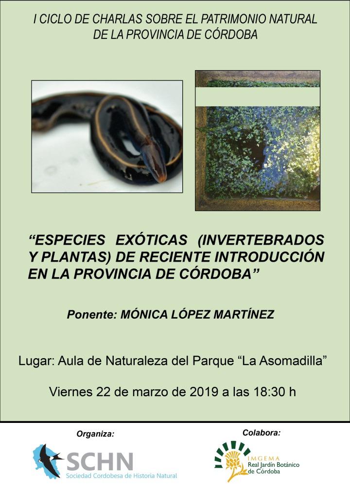 Cartel charla nuevas especies exóticas